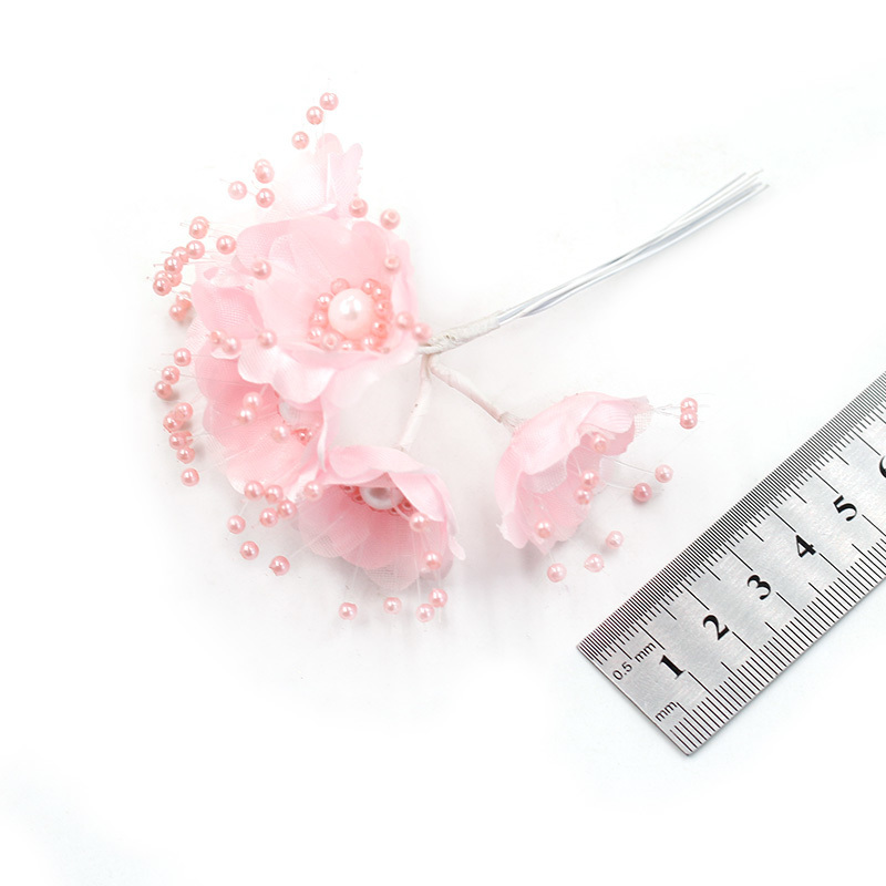 Artificial Flower 3.5cm Silk Pearl Sakura Bouquet Wedding Home Decoration DIY Garland Scrapbook Gift Box