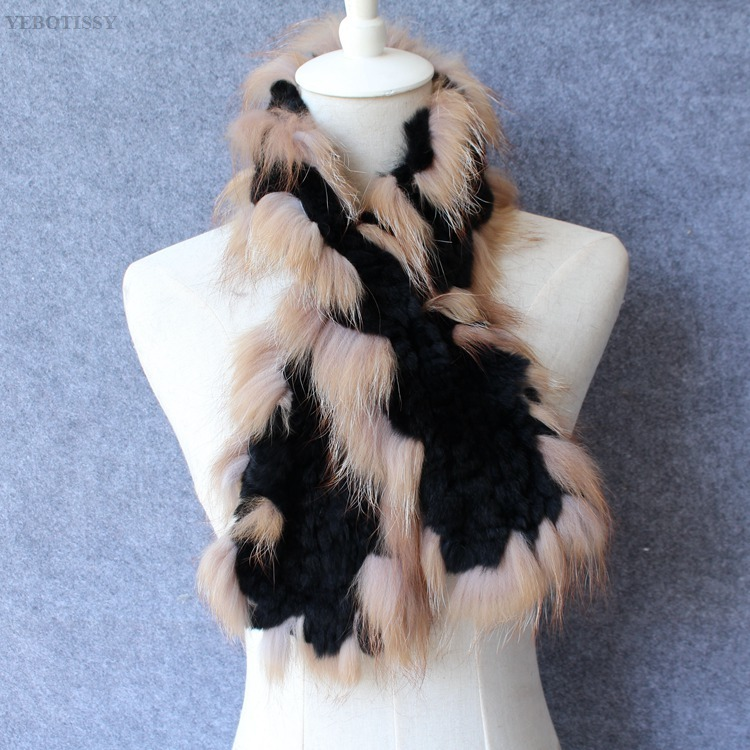 natural rex rabbit fur scarf silver fox fur (11)