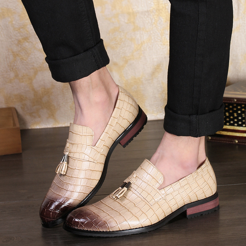 Yomior Tassel Slip-on Pointed Toe Italian Casual Leather Shoes Vintage Business Work Dress Formal Wedding Shoes Oxfords Loafers
