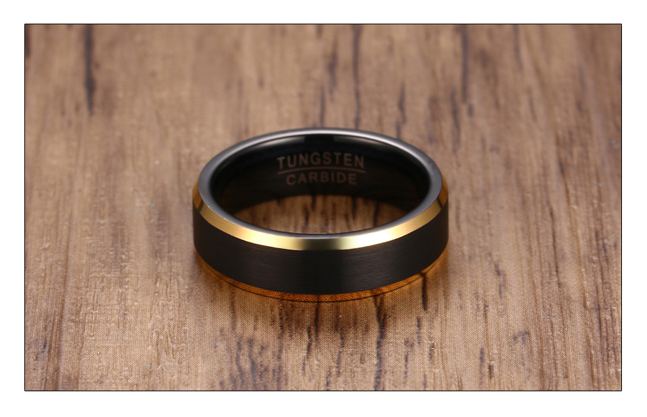 Meaeguet Black Gold Color Tungsten Carbide Engagement Rings Jewelry Men Matte Brushed Wedding Bands USA Size 8-12 (4)