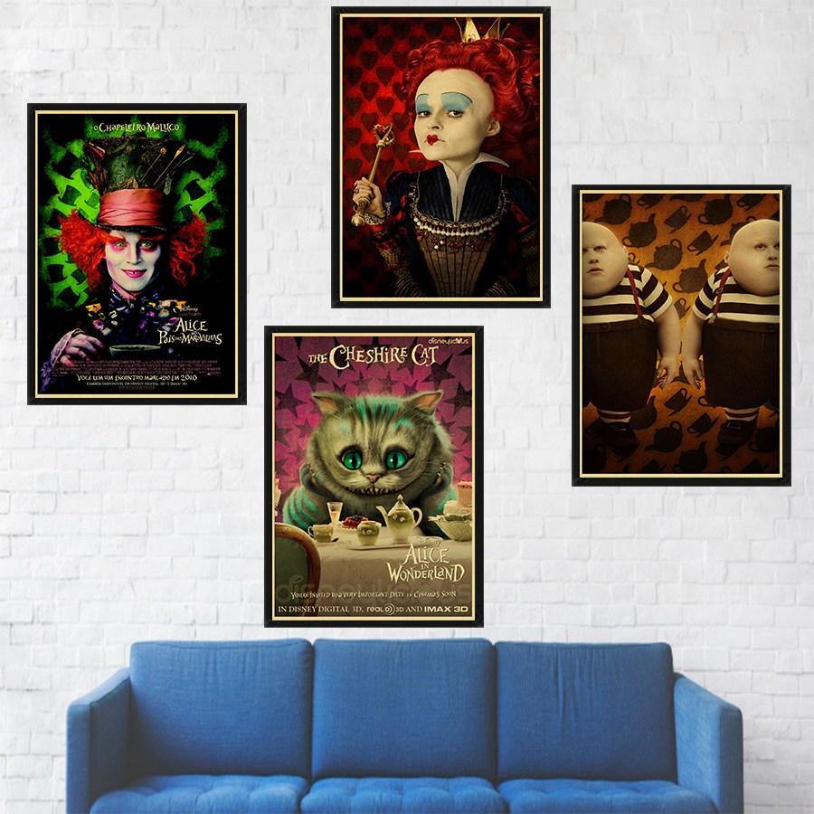Alice Nos Pais Das Maravilhas Filme Online alice no país das maravilhas filme poster arte retro da cópia do gato  cheshire parede pictures para o quarto adesivo decoração da parede das  crianças