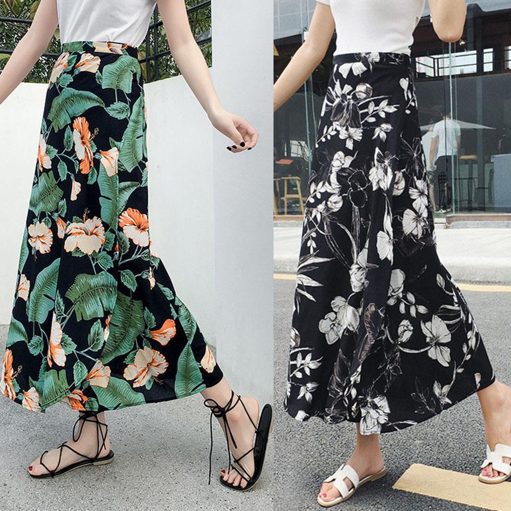Женская мода Мода Высокой Талией Цветочный Полосатый Шифон Макси Юбка Новая Одежда / Аксессуары Для Одежды
