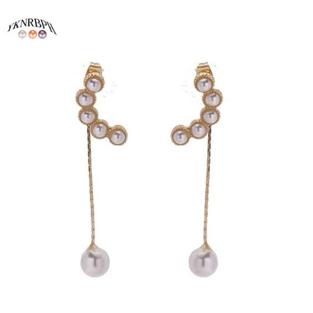 Cadena larga para mujer Pendientes de Perlas de Imitación Borla cuelgan pendientes LH