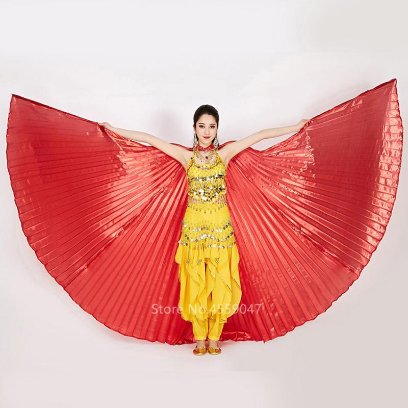 Fancy Belly Dance Costumes Egyptian 360° LED Light Isis Wings Sticks Performance