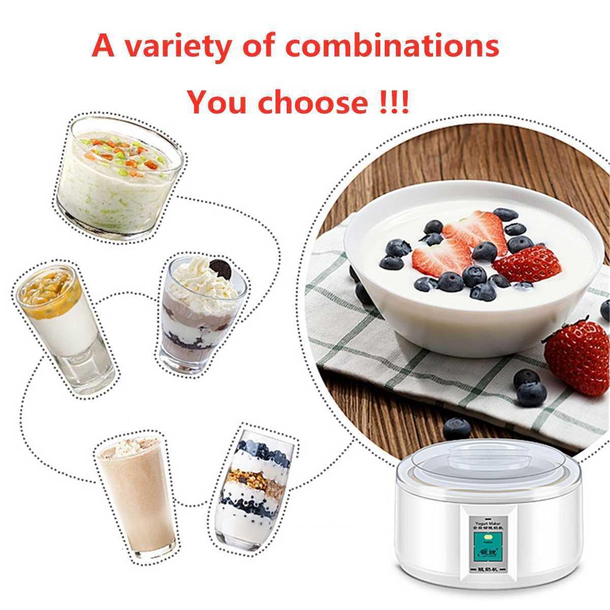 1.5l Electric Yogurt Maker Yogurt Diy Tool Kitchen Appliances Automatic Yogurt Maker With 7 Jars Liner Material Stainless Steel T190619