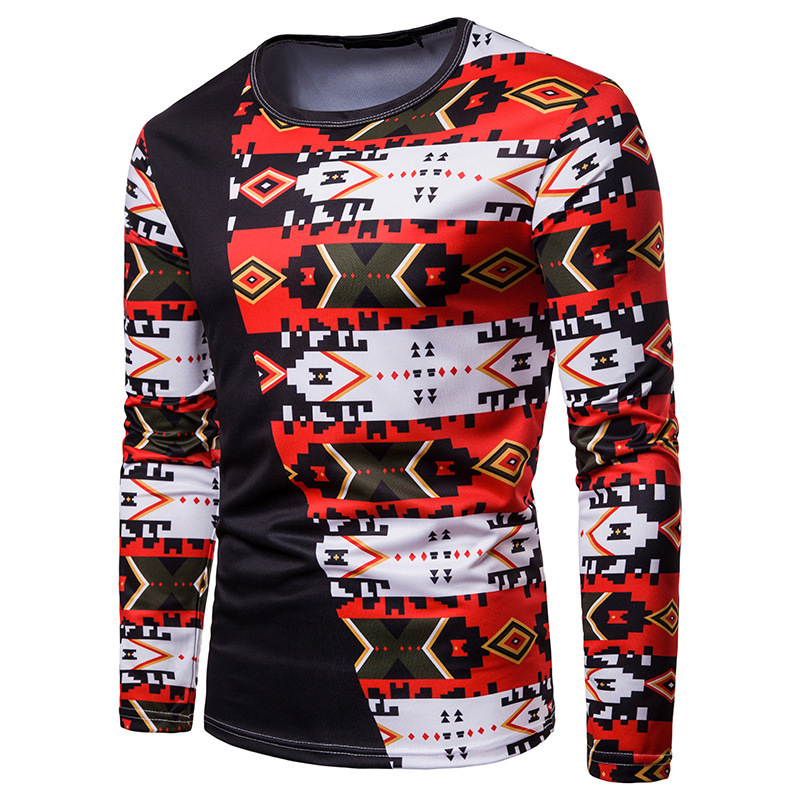Autumn Man Color Collision 3d Digital Printing Long Sleeves T-shirts T T-shirt Ct439