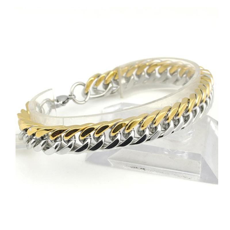 2019 Stainless Steel Men Bracelet Gifts Boy Male Cuban Link Chain On Hand Chain Personalized Mens Bracelets Hippie Rock Style