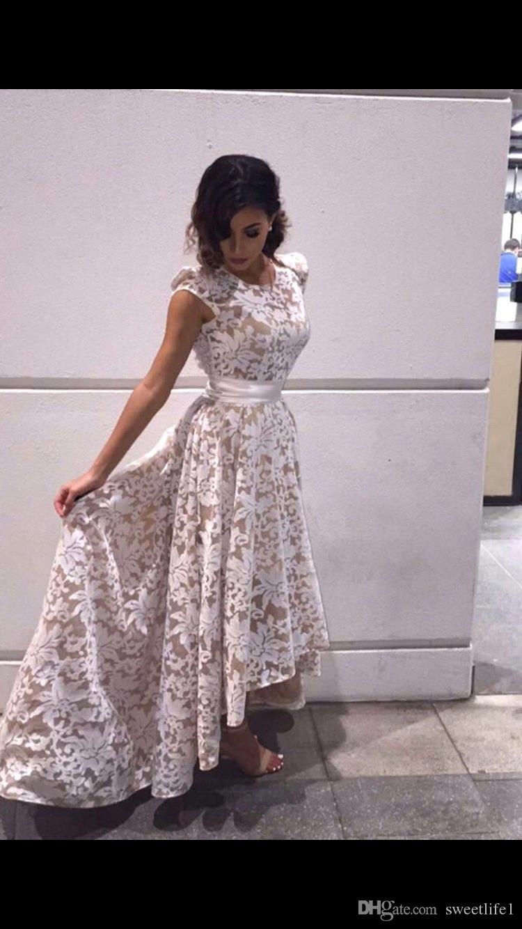 2017 Full Lace Hi-lo Prom Dresses White Ivory A Line Backless Formal Evening Gowns Runway Red Carpet Dresses Custom Made