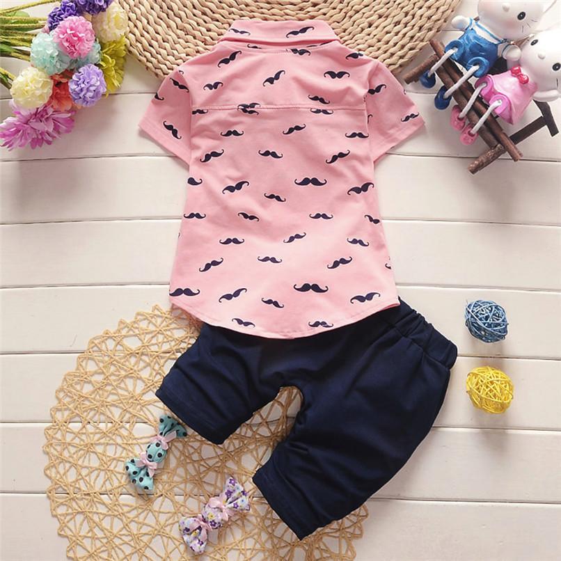 2PCS Baby Clothes Toddler Kids Baby Boys Short Sleeve Beard Print T-Shirt Tops+Letter Shorts Pants Set Boy Sets Clothes M8Y30#F (14)