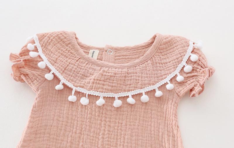 Cute Newborn Baby Girl Romper 2017 Summer short sleeve Princess fur ball Sunsuit One Pieces Tassel Clothes free drop shipping (17)