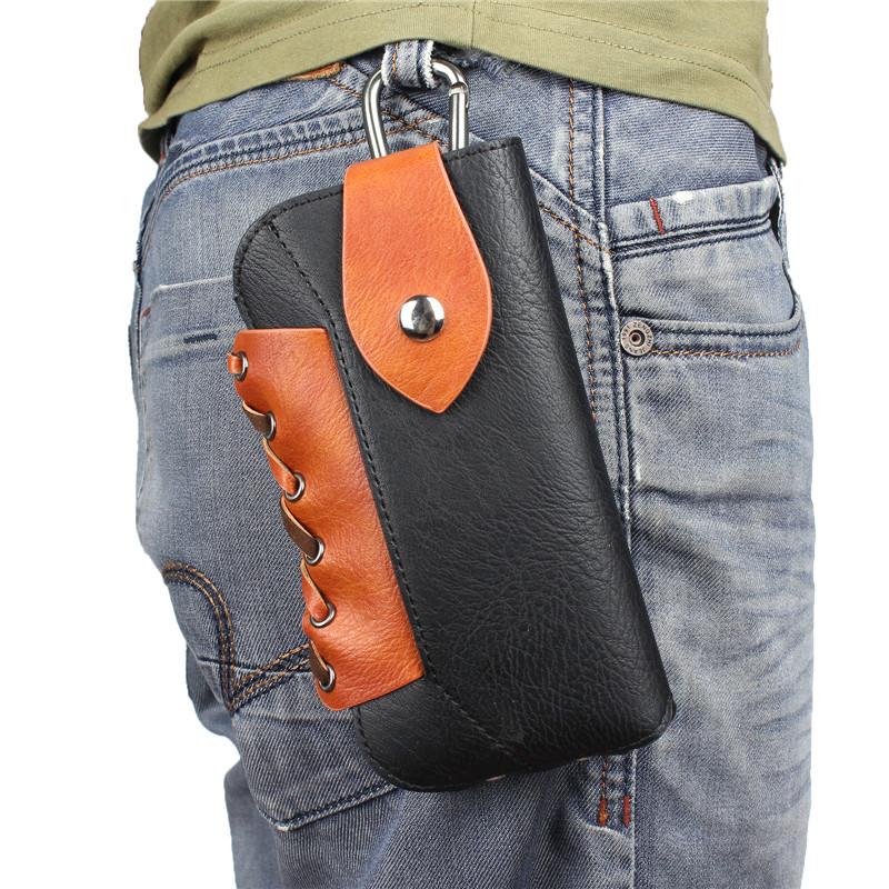 Holster Waist Case Mobile Phone Bag Belt Pouch Cover for Men Women Outdoor Sport Soft Leather Hook Belt Clip Waist Purse