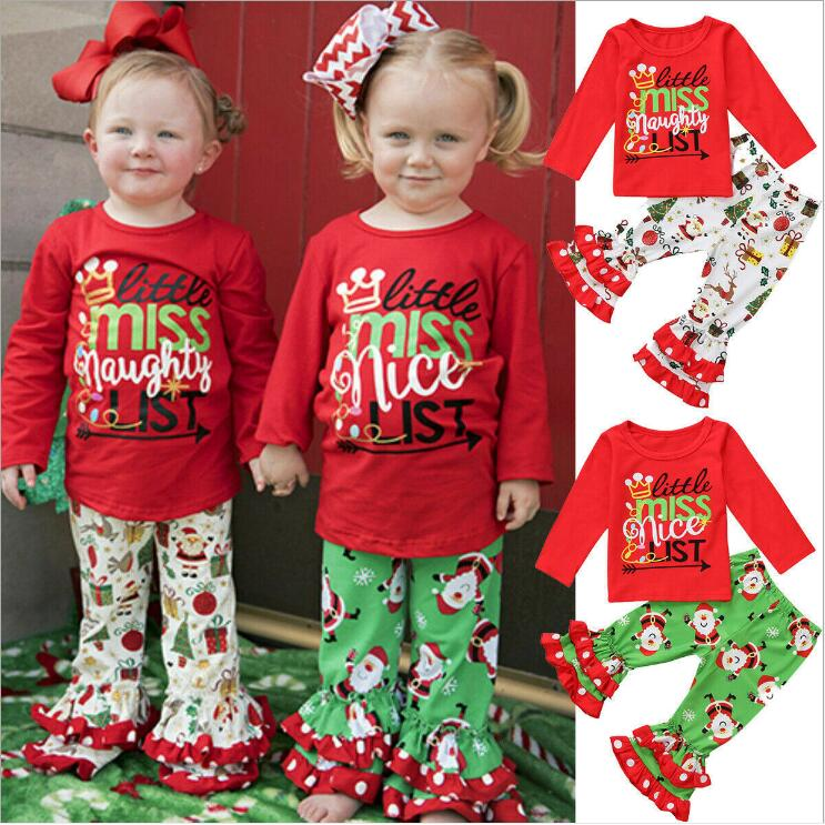 Toddler Kids Baby Girls Party Solid Ruffled Tops/&Bell-Bottoms Flared Pants 2pcs