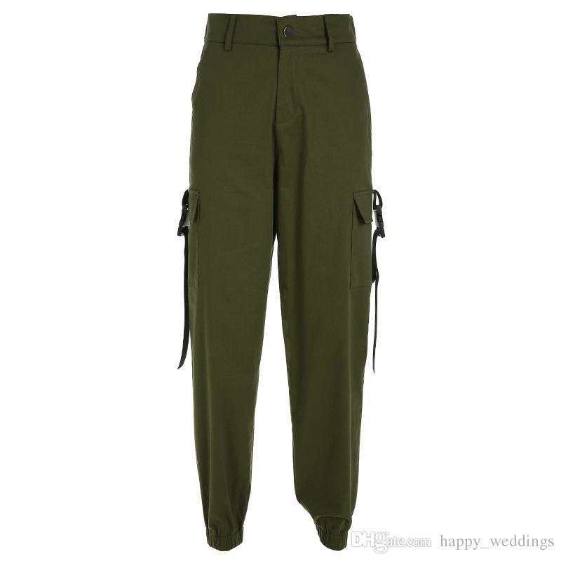 High Waist Cargo Pants Womens Streetwear Loose Pockets Elastic Waist Pencil Pants Fashion 85% Cotton Trousers Women
