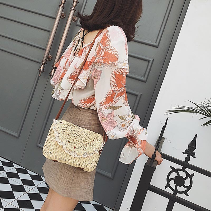 Women Lace Straw Bags INS Popular Female Holiday Handbag Summer Hot Lady Weave Shoulder Bag Travel Beach Casual Bolsa SS3150 (16)
