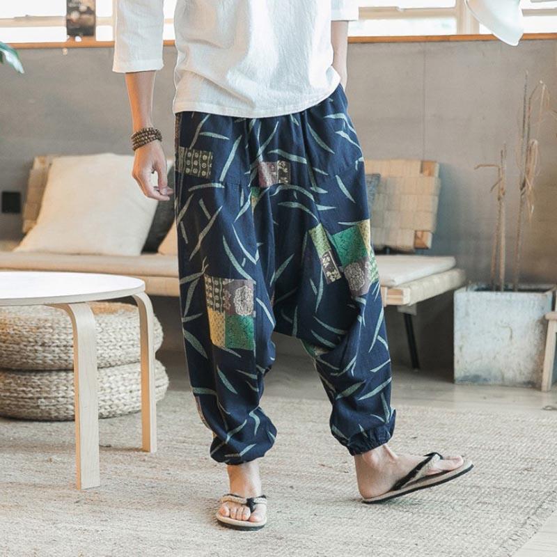 Summer Ethnic Mens Linen Blend Capri Loose Harem Pants Wide Leg Beach M-4XL New