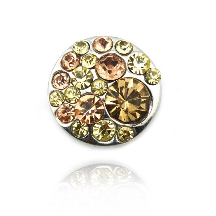 Fashion 18mm Snap Buttons Yellow Rhinestone Metal Clasps Fit DIY Bracelet Noosa Jewelry Accessories
