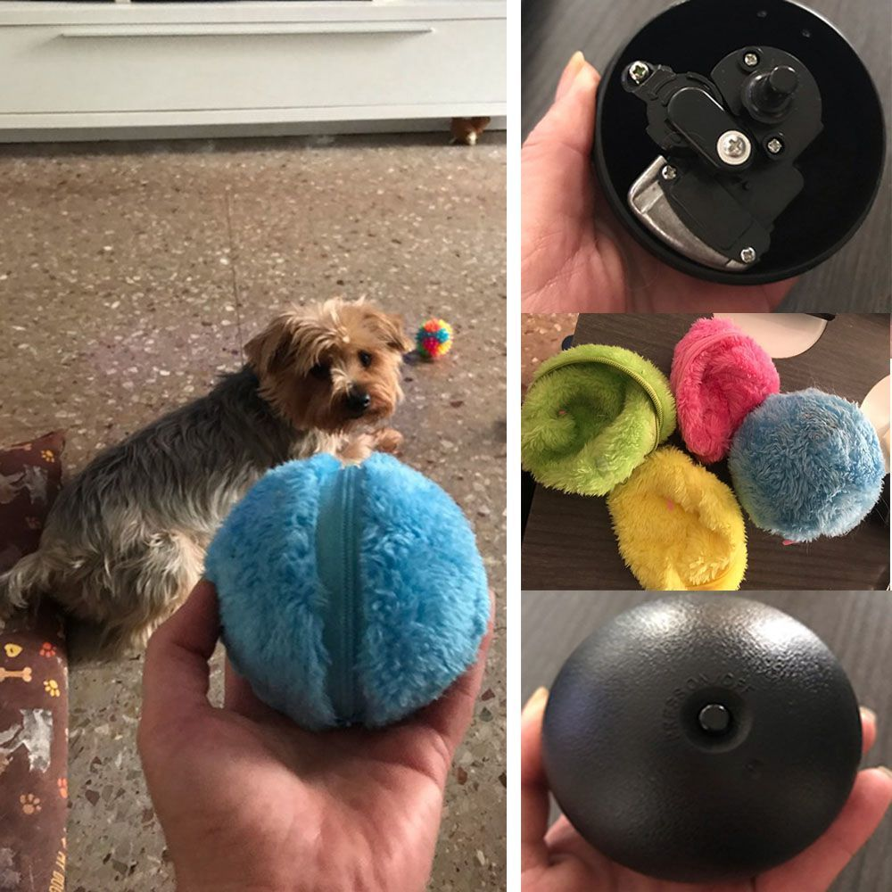 Funny Dog Magic Cat Toys For Dogs Ball Chew Automatic Roller Interactive Plush Pet Products Q190523 Q190523
