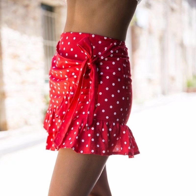 Summer High Waist Skirts Womens Vintage Ruffle Pink Red Polka Dot Pleated Mini Wrap Skirt Korean Style Women Kwaii Streetwear J190625