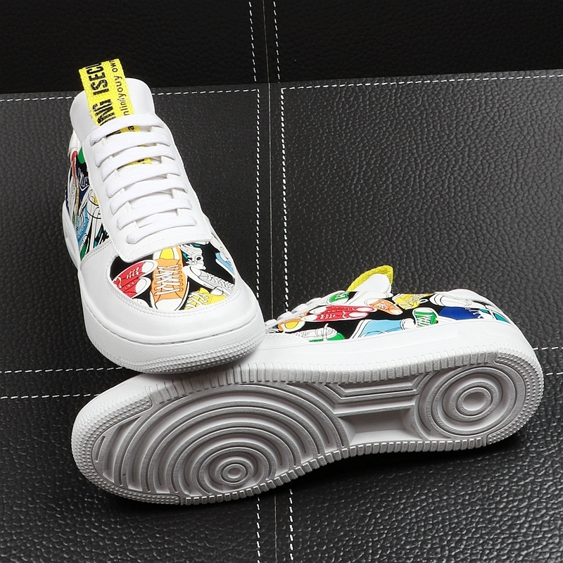 Memorable2019 Skate White Korean Trend Printing Casual Shoes Personality Street Hip Hop Young Students Joker Male Shoe