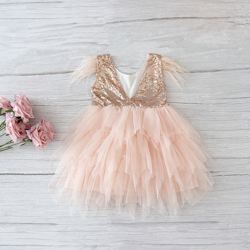 69-2-Feather Sequins Tiered Girls Dress