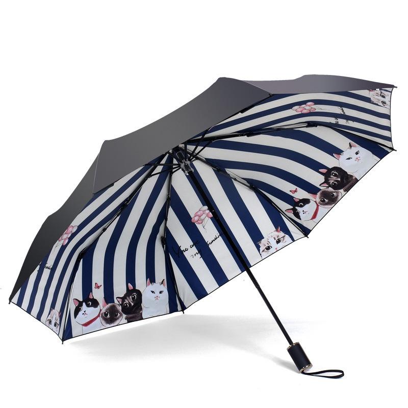 Cute Cartoon Cat Mini Parapluie Pluie Femmes Pliant Femme SUNNY Coupe-Vent Pluie