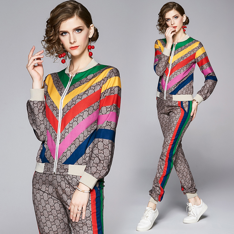 2020 Runway Rainbow Striped Two Piece Sets Plus Size Women Long Sleeve Print Jackets Coat + Long Pants 2 pcs Ladies Designer Two Piece Pants