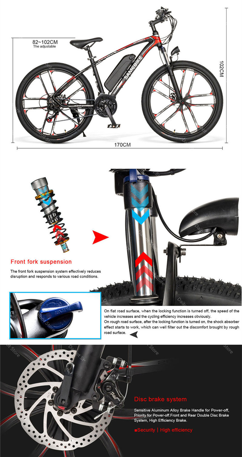 MY-SM 26 Electric Mountain Bike Two Wheels Electric Bicycles 350W 48V 384WH Shimano 21 Speed System Electric Scooters Adults (9)
