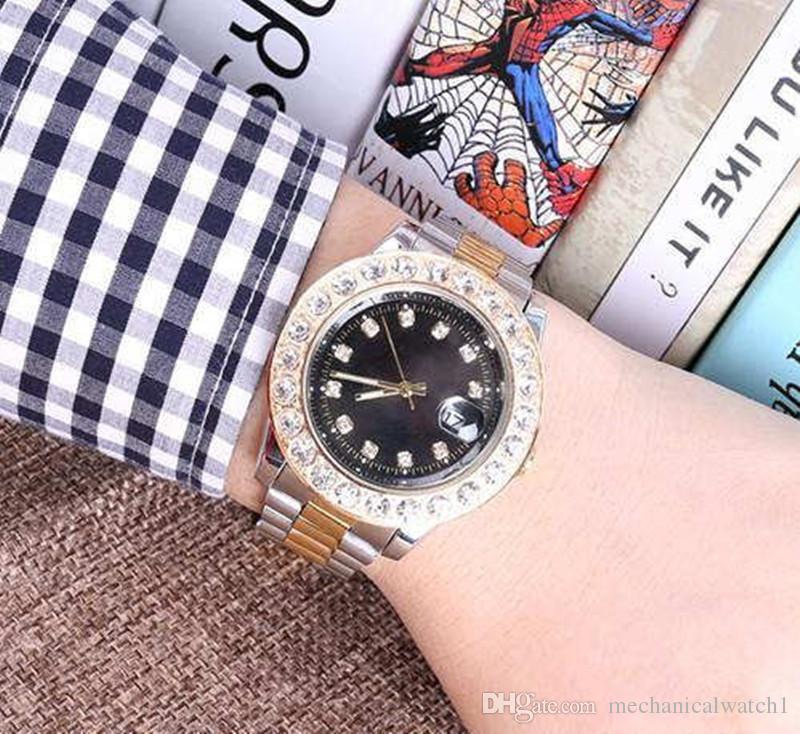 SSS Top Automatic Data Style Man orologi Full Diamond Steel Chain Orologio da polso Luxury Business Clock Orologio da orologio meccanico di alta qualità