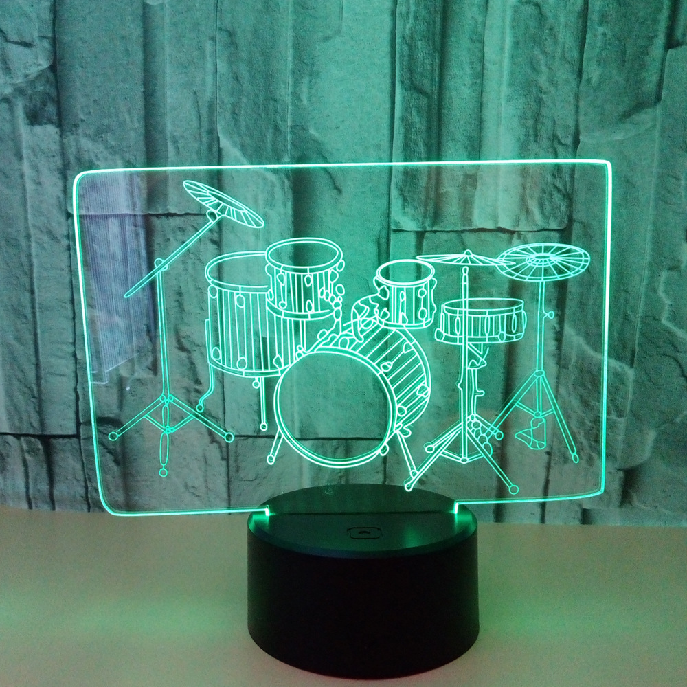New Pattern The Shelf Drum 3d Small Night-light Colorful Touch Led Vision Lamp Gift Atmosphere 3d Led Three-dimensional Desk Lamp