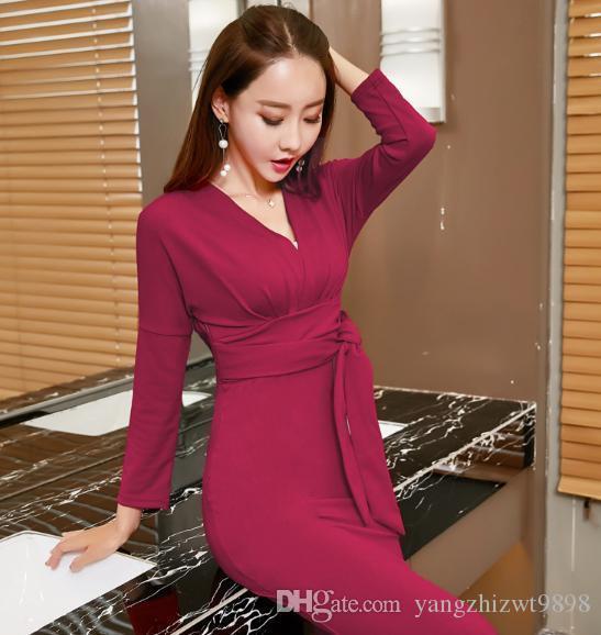 Plus2019 Womens Elegantt Wine Red/black Deep V Neck Low Cut Sheath Prom Party Sexy Club Bodycon Office Dress