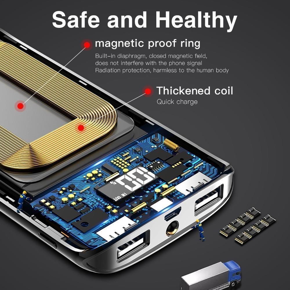 18650 20000 mah Güç Bankası Harici Pil Bankası Dahili Kablosuz Şarj Powerbank Taşınabilir QI iPhone XS için Kablosuz Şarj