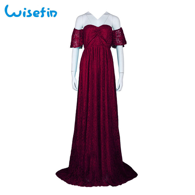 75e92fc9e59f1 2019 Wisefin Maternity Maxi Dresses For Pregnant Women 2018 Summer Lace  Maternity Dress Photography Pregnancy Photography Props P30 Y190522 From ...