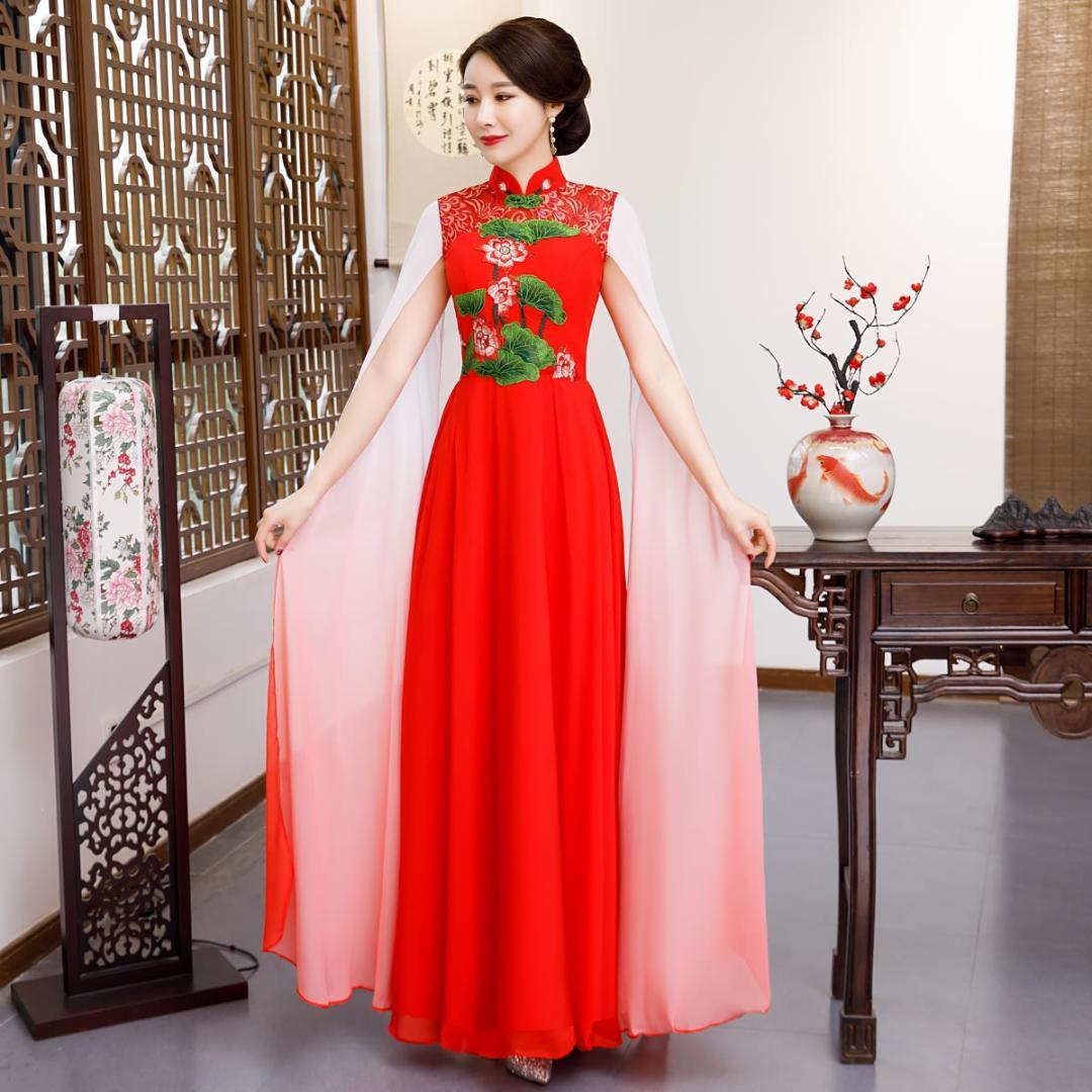 Red Frauen Hochzeit Cheongsam Oriental Abendkleid chinesische traditionelle  elegante Qipao Sexy Lange Robe Vestido S-XXL