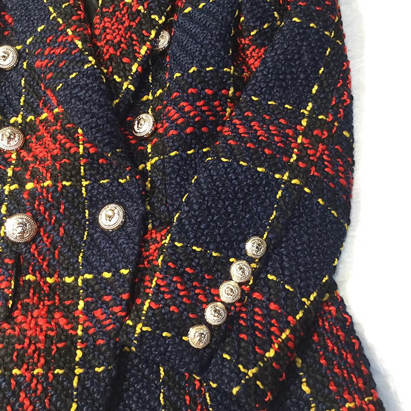 Autumn Winter 2018 Runway Designer Women Red Plaid Jacket Coat Double Breasted Lion Metal Buttons Tweed Female Ladies Clothes T419053003