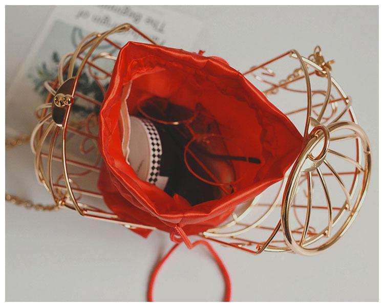 Gaiola de Embreagem do Saco de Noite de Gaiola de Embreagem das mulheres de Metal Frame Bordado Gaiola de Pássaro Mini Bolsa Bolsa Mulheres Bolsa de Borla de Ouro Y19051702
