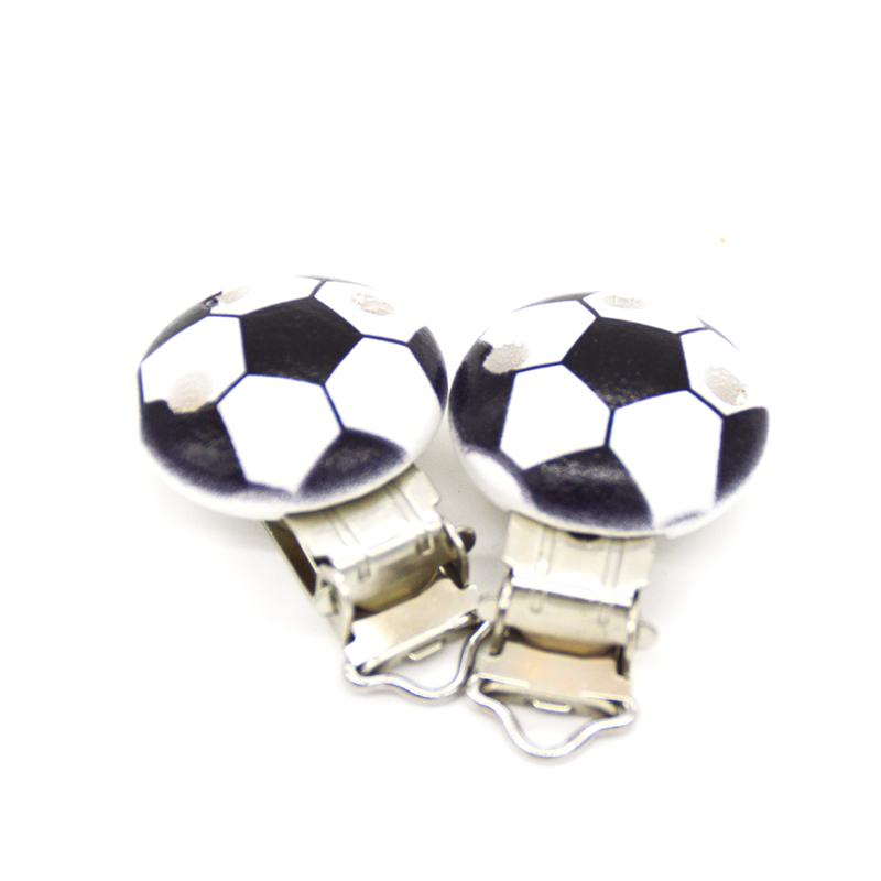 """Baby Pacifier Clips Black Football Printed White Wood Metal Holders Clasps 4.4cm X 2.9cm1 6/8"""" X1 1/8"""""""