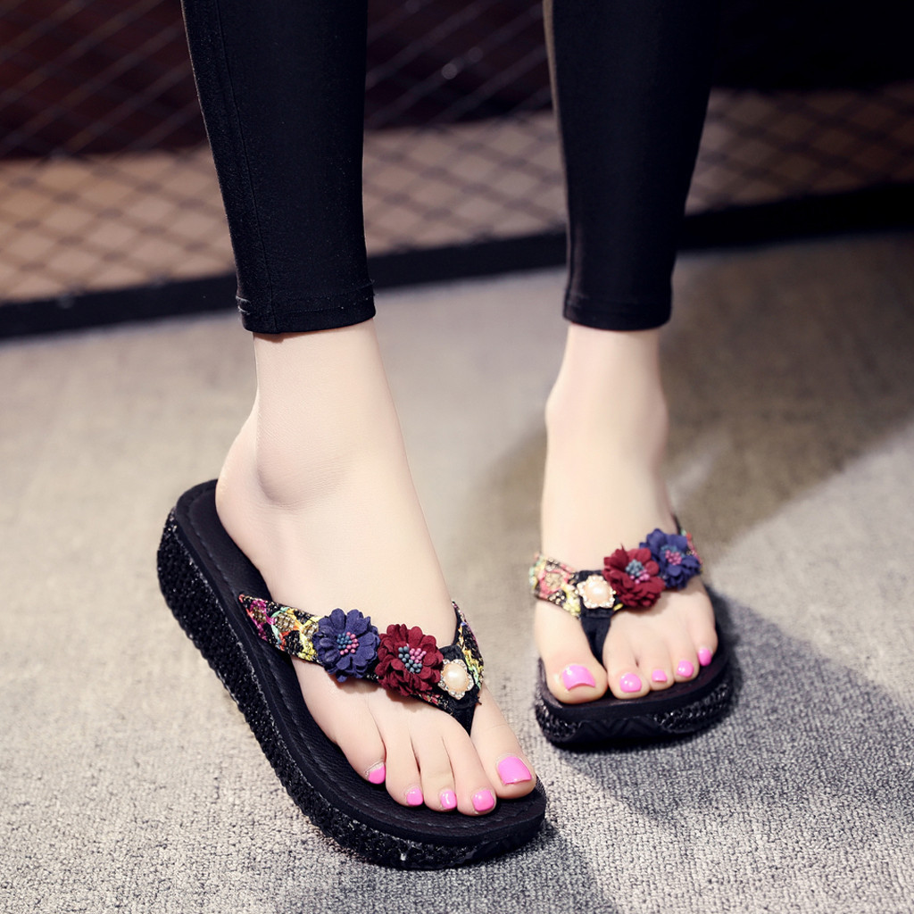 12019 Women Slippers Flower Flip Flops Summer Sandals Shoes Beach Slippers Women Flat Flip Flops Home Slippers Shoes