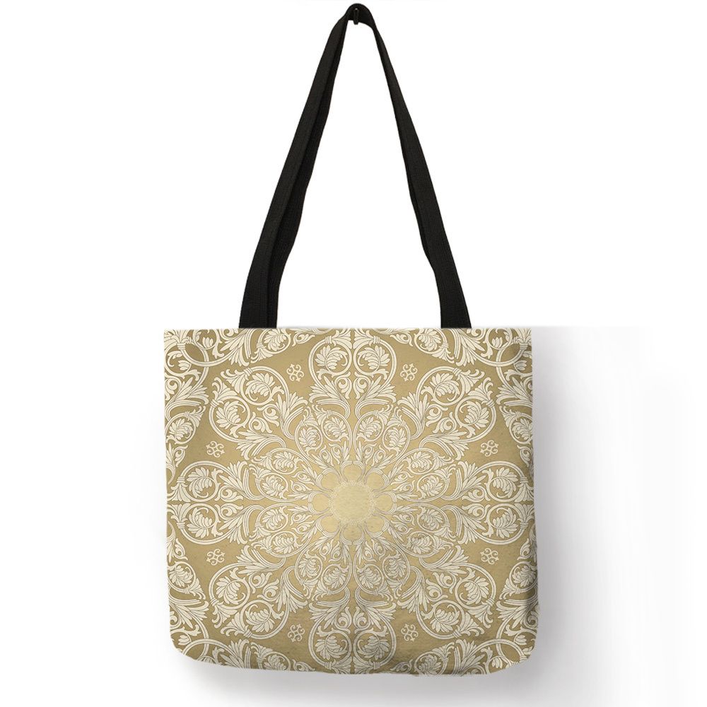 Log Color Fresh Simple Pattern Tote Bag For Ladies Girls Yellow Floral Print Shoulder Bag Reusable Foldable Large Capacity Sack