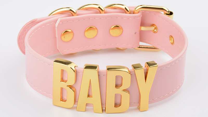 Personalized Charm Kawaii Gold Metal Baby Letters Choker Necklace Women Girl PU Pink Leather Punk Harajuku Collar Word Necklace 7