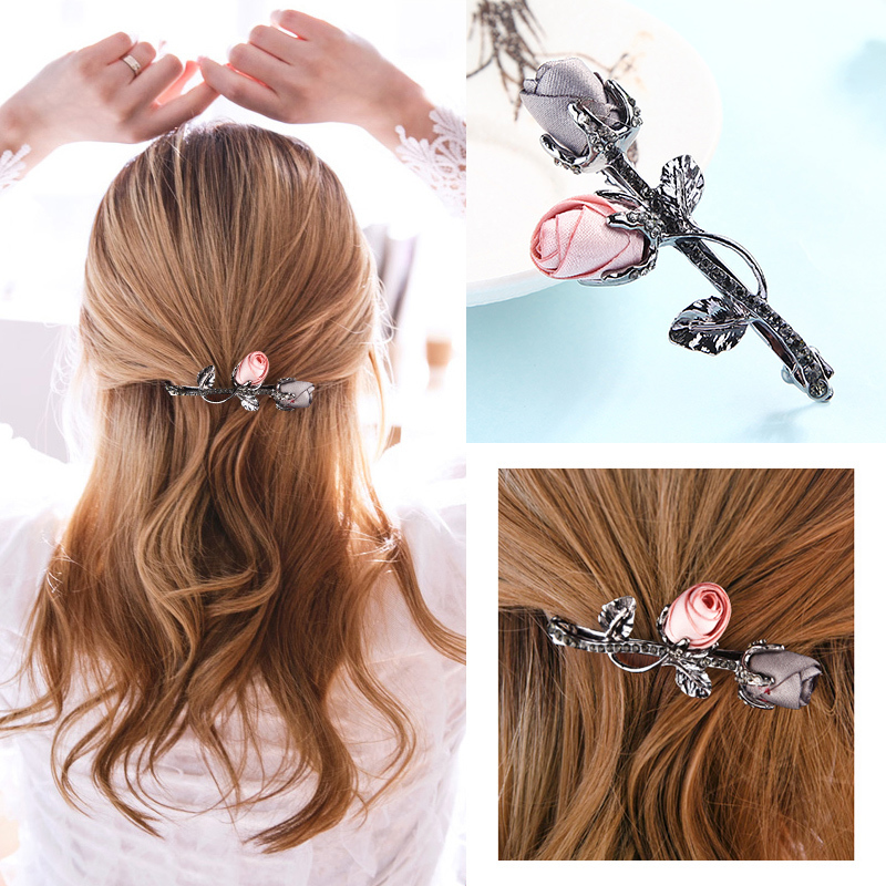 M MSIM Retro Fabric Rose Flower Hairpins with Rhinestone Leaves Barrettes for Elegant Women Girls Hair Clip Hair Accessories D19011502