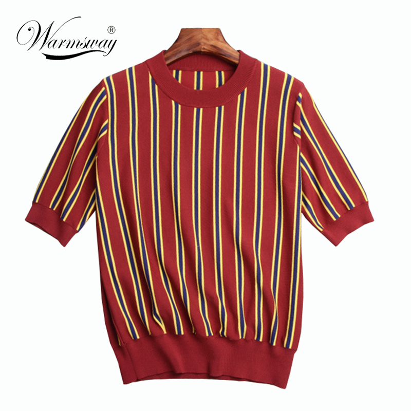 Good quality women elegant short sleeve patchwork striped knitted Pullover o neck summer autumn tees casual tops camiseta B-051