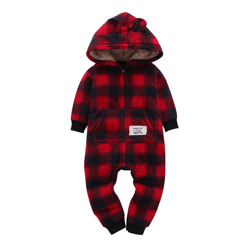 Free shipping 2018 kid boys Long Sleeve Hooded Fleece jumpsuit red plaid casual style Newborn Boy winter one piece clothes 0-24m