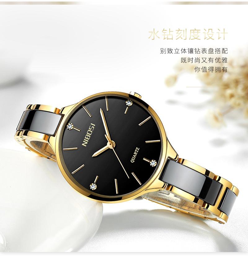 Relojes Para Mujer NIBOSI Women Watches Bracelet Watch Ladies Wrist Watch Women Waterproof Fashion Casual Crystal Dial Rose Gold (6)