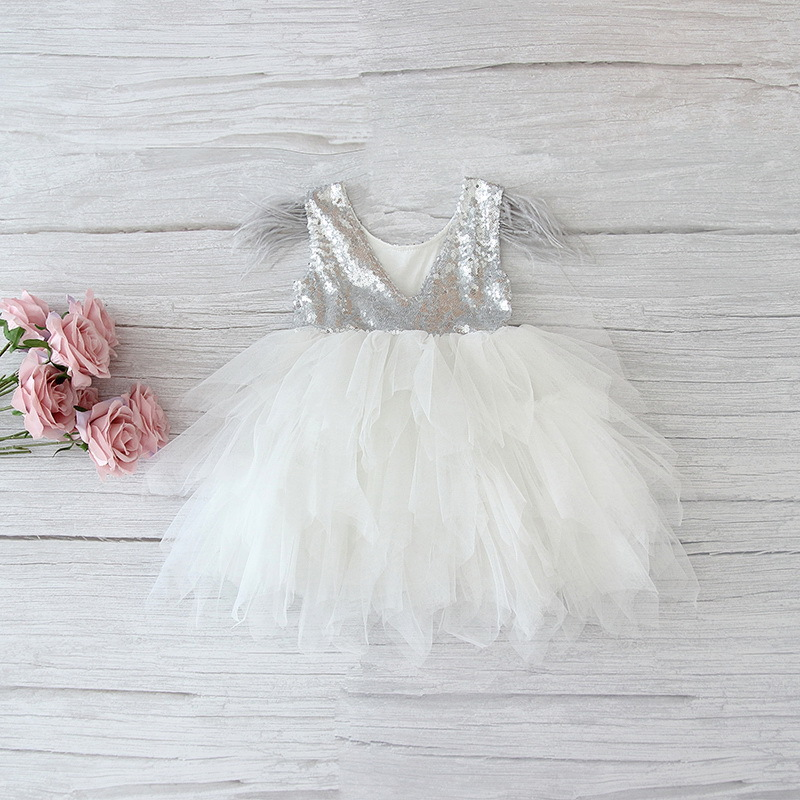 69-6-Feather Sequins Tiered Girls Dress