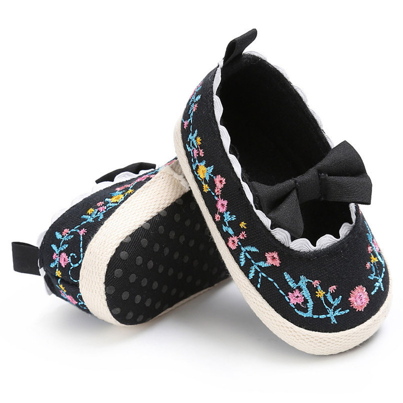 Baby Girls Shoes Fashion Newborn Infant Baby Girls Canvas Floral Bowknot Lace Shoes Soft Sole Anti-slip First Walker M8Y04 (17)