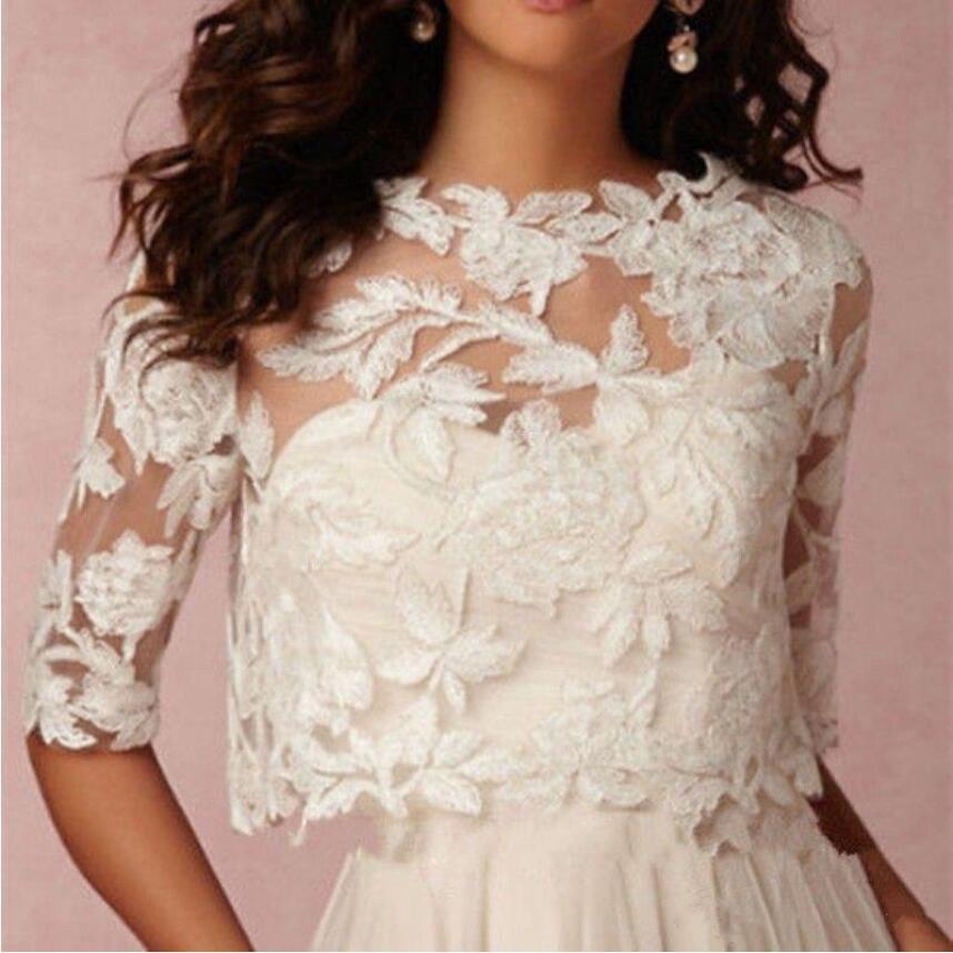 Nuptial Mariage Boléro Motif par Pièce Blanc Coton Floral Appliques Dentelle