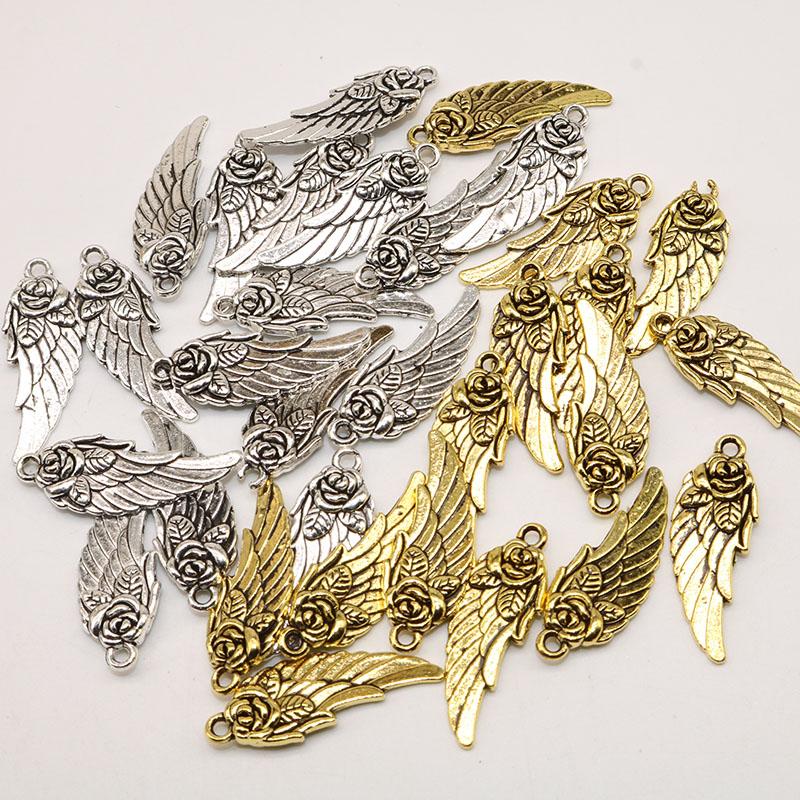 Plata 20 Doble Ala De Ángel//Hada espaciador granos fabricación de joyas encantos al por mayor