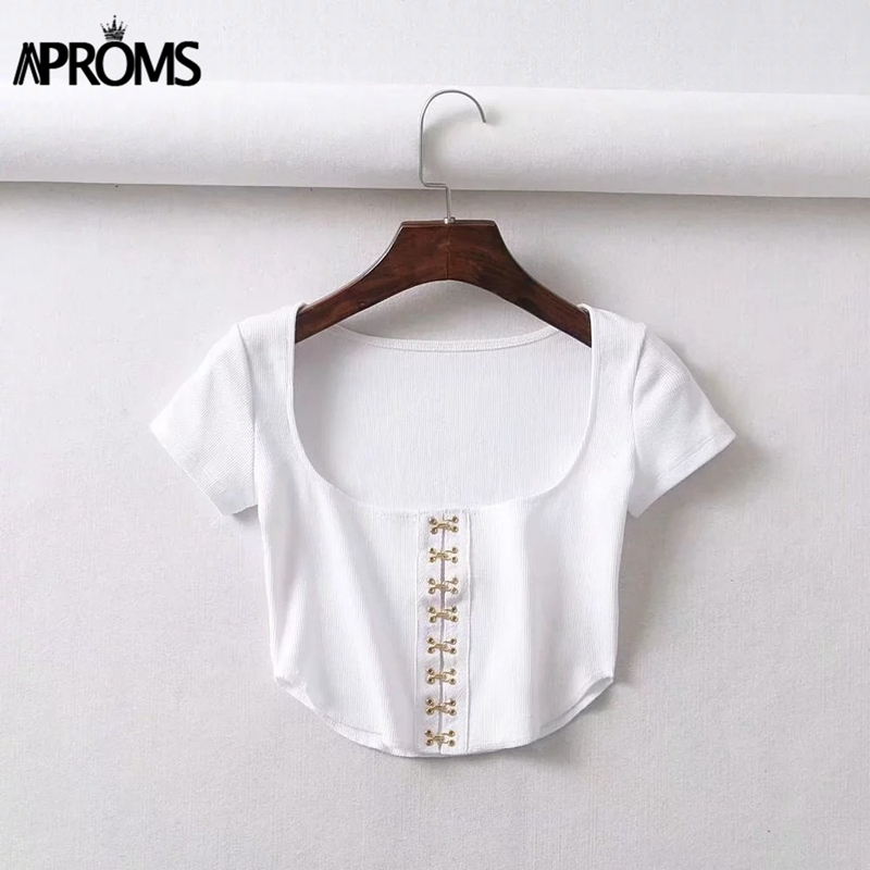 Aproms Vintagesquare Neck Tank Tops Wmen Sexy White Black Backless Elastic Button Cami 90s Cool Girls Streetwear Tees Camisole Q190426