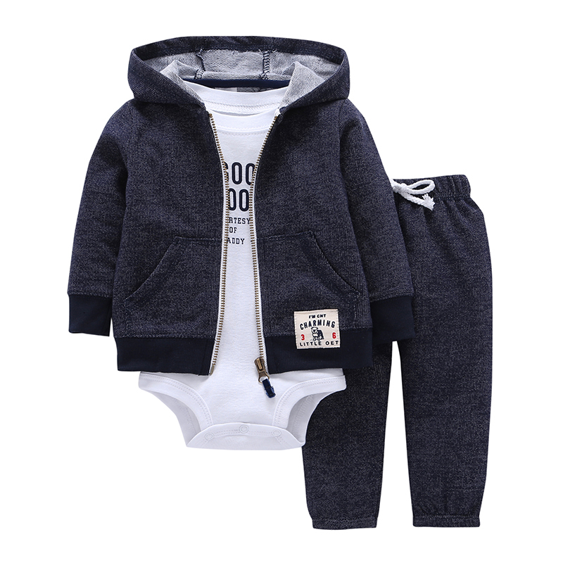 BABY BOY GIRL CLOTHES SET cotton long sleeve hooded jacket+pant+rompers new born infant toddler outfits unisex newborn clothing