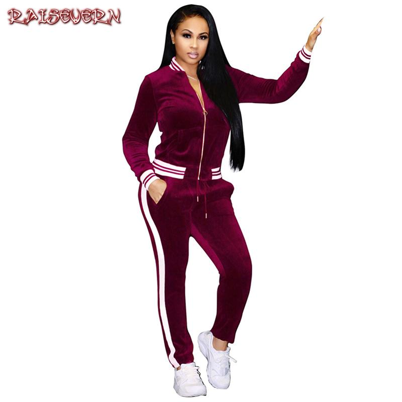 RAISEVERN Two Pieces Women Suits Casual Side Stripe Zipper Coat+pants Velet Suits Autumn Fitness Tracksuit Women 2 Piece Set